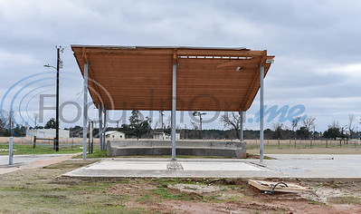 A concrete slab and partial ceiling panel is all that remains of the Caddo Mounds State Historic Site Museum in Alto after tornadoes hit the area last April. A re-opening ceremony was held on Saturday, January 11. (Jessica T. Payne/Tyler Morning Telegraph)