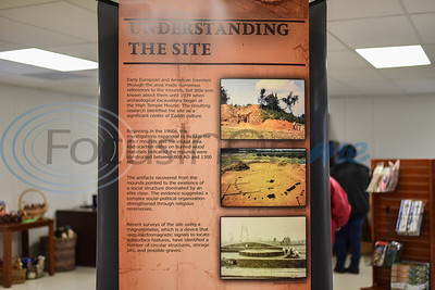 A display stands inside the Caddo Mounds State Historic Site temporary museum explaining the site and structures. People gathered at the site on Saturday, January 11 for a re-opening ceremony and it was destroyed by tornadoes last April. (Jessica T. Payne/Tyler Morning Telegraph)