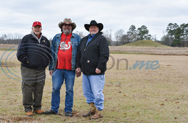 (From left) Caddo Mounds State Historic Site Manager Tony Souther, Friends of Caddo Mounds president Jeff Williams and Alto Mayor Jimmy Allen stand for a photo in front of a Caddo Mound at the re-opening ceremony for the site on Saturday, January 11. (Jessica T. Payne/Tyler Morning Telegraph)