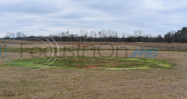 A faded circle indention at the Caddo Mounds State Historic Site is the only indication that a Caddo grass house once stood there.  The house was destroyed when three tornadoes ripped through Alto on April 13, 2019. (Jessica T. Payne/Tyler Morning Telegraph)