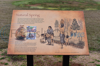 A sign is on display just outside where a grass Caddo house used to stand at Caddo Mounds State Historic Site in Alto. A re-opening ceremony was held at the site on Saturday, January 11 after tornadoes destroyed the area last April. (Jessica T. Payne/Tyler Morning Telegraph)