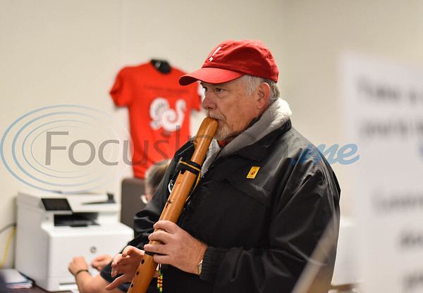 Caddo Mounds State Historic Site Manager Tony Souther plays a Native American wooden flute prior to a ceremony for the re-opening of the site. The ceremony consisted of prayer, planting of a cedar tree and a native Muscadine grape vine and discussion of the new museum plans. (Jessica T. Payne/Tyler Morning Telegraph)