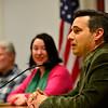 KRISTOPHER RADDER - BRATTLEBORO REFORMER<br /> Davey Cadran, David Schoales, Brandie Starr and Tim Wessel participated in a candidate forum in the Municipal Building in Brattleboro on Thursday, Feb. 23, 2017.