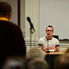 KRISTOPHER RADDER - BRATTLEBORO REFORMER<br /> Davey Cadran tries to answer a question asked by Curtis Reed during a candidate forum in the Municipal Building in Brattleboro on Thursday, Feb. 23, 2017.