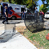 Paramedics load a man into an ambulance at the scene of car versus pedestrian accident on Wednesday, Oct. 3, in the parking lot of St. Aidan's Episcopal Church on 2425 Colorado Avenue in Boulder. The man who was hit by the car was eating lunch at a table when a woman crashed into a food truck and then the table where the man was sitting.<br /> Jeremy Papasso/ Camera