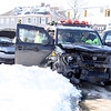 A passenger is stabilized after a car accident on Thursday  on the corner of Elm and East St. in Pittsfield. December 19th 2013 Holly Pelczynski/Berkshire Eagle Staff
