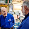 BEN GARVER — THE BERKSHIRE EAGLE<br /> Carr Hardware is celebrating its 90th anniversary in the same year that co-owner Marshall Raser celebrates his 90th birthday. Raser is still working the sales floor as he has since 1962. Here Raser is chatting with Peter Rentz.