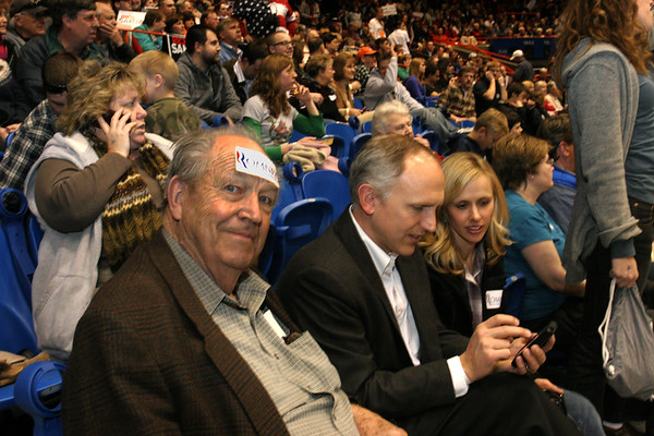 Ted Johnson proudly displays his choice for the first-ever Idaho caucus.  Next to him are Clark and Jane Johnson.