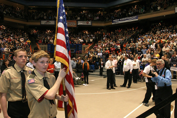 Boy scouts prepare to present the United States flag at the beginning of the Boise, Idaho caucus where there were over 9,000 in attendance.