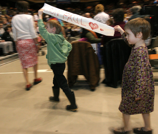 Young Ron Paul supporters on parade at the Boise, Idaho caucus.