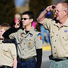 Boy Scouts of America Troop 39 members salute during the playing of the National Anthem prior to the start of the Chilly Challenge 5K run Wednesday morning , Jan. 1, 2014, at the Joplin Family Y South.<br /> Globe | T. Rob Brown