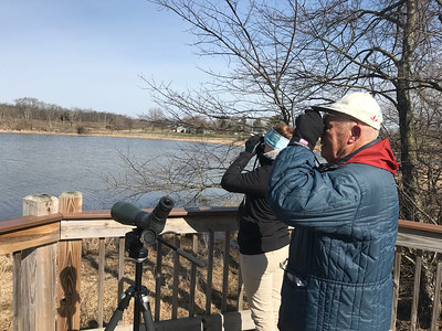 NATHAN HAVENNER / GAZETTE  Medina County resident Dick Welsh, right, looks through binoculars for waterfowl with Medina County Park District naturalist Natalie Moore on Saturday morning at Chippewa Inlet Trail North. Moore was leading a Frogs and Fowl hike along the Loop Trail in Lafayette Township.