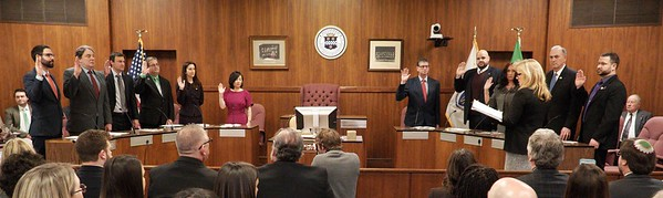 BEN GARVER – THE BERKSHIRE EAGLE<br /> The Pittsfield City Council takes the Oath of Office from City Clerk Michelle Cetti, Tuesday, January 2, 2017. Left to right: Nicholas J. Caccamo, Christopher J. Connell, John Krol, Peter Marchetti, Melissa Mazzeo, Helen Mooon, Kevin Morandi, Earl Persip, Donna Todd rivers, Anthony Simonelli and Peter White.