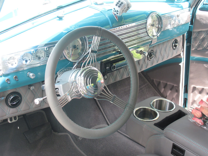 BOB FINNAN / GAZETTE The gray leather interior of this 1941 Chevy two-door sedan was impeccable.