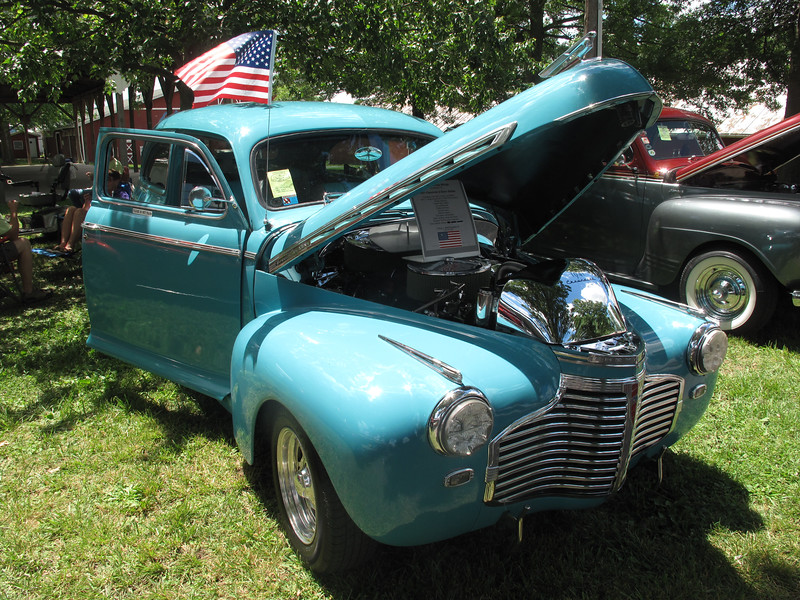 BOB FINNAN / GAZETTE This 1941 Chevy two-door sedan traveled the farthest to be at the Vintage Street Rodders of America show Saturday at the Medina County Fairgrounds. Owners Jim and Shiela Whipp traveled from Vero Beach, Fla.