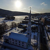 KRISTOPHER RADDER - BRATTLEBORO REFORMER<br /> The fresh snow shines off of Centre Congregational Church, in Brattleboro, as the sun rises on Friday, Jan. 5, 2018.