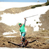 "Chas Vergauwen, of Breckenridge, shows how stoked he is after skimming across the entire pond on Friday, July 1, at Arapahoe Basin Ski Resort in Summit County. For a video of the ski day go to  <a href=""http://www.dailycamera.com"">http://www.dailycamera.com</a><br /> Jeremy Papasso/ Camera"