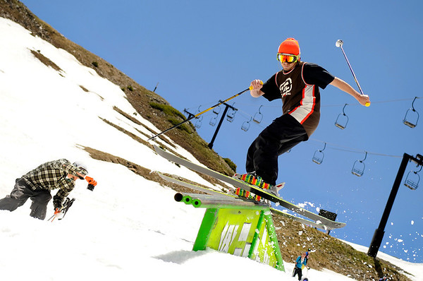 "A skier nails a trick on a rail on Friday, July 1, at Arapahoe Basin Ski Resort in Summit County.  For a video of the summer ski day go to  <a href=""http://www.dailycamera.com"">http://www.dailycamera.com</a><br /> Jeremy Papasso/ Camera"