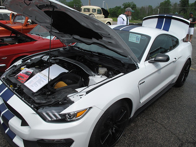 BOB FINNAN / GAZETTE The 2016 Ford Shelby GT 350 was one of the most popular cars at the Cloverleaf High School bowling team's car show Sunday.