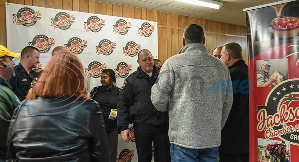 Jacksonville residents and officers gathered at the Jacksonville Chamber of Commerce for a Coffee with a Cop event on Thursday, February 20.