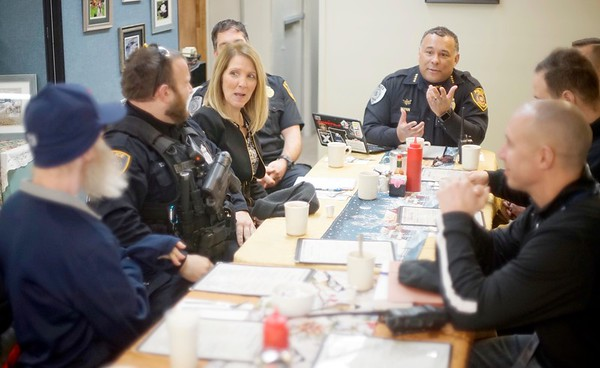 BEN GARVER – THE BERKSHIRE EAGLE<br /> Chief Michael Wynn of the Pittsfield Police Department leads a discussion called  Coffee with a Cop at Mezzie's Variety & Luncheonette, on Tyler Street, Thursday, February 8, 2018.