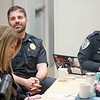 BEN GARVER – THE BERKSHIRE EAGLE<br /> LT. Gary Traversa  of the Pittsfield Police Department joins a discussion called  Coffee with a Cop at Mezzie's Variety & Luncheonette, on Tyler Street, Thursday, February 8, 2018.