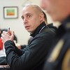 BEN GARVER – THE BERKSHIRE EAGLE<br /> OfficerJohn Soules of the Pittsfield Police Department joins a discussion called  Coffee with a Cop at Mezzie's Variety & Luncheonette, on Tyler Street, Thursday, February 8, 2018.