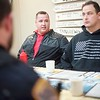 BEN GARVER – THE BERKSHIRE EAGLE<br /> James Sena and Ryan Conklin are student officers at the Pittsfield Police Department and they joined discussion called  Coffee with a Cop at Mezzie's Variety & Luncheonette, on Tyler Street, Thursday, February 8, 2018.