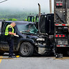 KRISTOPHER RADDER - BRATTLEBORO REFORMER<br /> The driver of the pickup truck was taken to Brattleboro Memorial Hospital for serious injuries after hitting a tractor-trailer on Route 9 in West Brattleboro on Tuesday, May 29, 2018. The incident has closed down Route 9 near Leader Home Centers, 225 Marlboro Road, while members of the Brattleboro Police Department and Vermont DMV. The cause of the incident is currently under investigation.