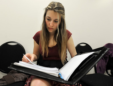 University of Wyoming student Chloe King reads over her lines during an audition for the Colorado Shakespeare Festival on Friday, Jan. 18, at the Denver Performing Arts Tramway building in Denver. For more photos and video of the audition go to www.dailycamera.com Jeremy Papasso/ Camera