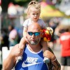 BEN GARVER — THE BERKSHIRE EAGLE<br /> Nick Myrdycz and his daughter August, age 2, of Coxsackie, enjoy the Columbia County Fair, Labor Day in Chatham, New York.