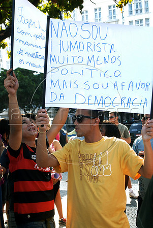 Protester demonstrates against a law that prohibits making fun of presidential candidates on Copacabana beach, Rio de Janeiro, Brazil, Aug. 22, 2010. Brazilian TV and radio broadcasters are legally forbidden from making fun of candidates ahead of the nation's Oct. 3 election and a possible second-round runoff on Oct. 31. (Austral Foto/Renzo Gostoli)
