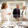 BEN GARVER — THE BERKSHIRE EAGLE<br /> Stephanie Plunkett, U.S Rep. Richard Neal and Laurie Norton Moffat visit in the gallery of the Norman Rockwell Museum in Stockbridge.