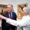 BEN GARVER — THE BERKSHIRE EAGLE<br /> U.S Rep. Richard Neal and Laurie Norton Moffat visit in the gallery of the Norman Rockwell Museum in Stockbridge.