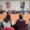 BEN GARVER — THE BERKSHIRE EAGLE<br /> Congressman Richard Neal visits with students from both city schools at Pittsfield High School to engage them in a conversation about issues related to school safety, Monday, March 5, 2018.