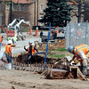 "Workers from Concrete Works put up a wall for the pedestrian ramp  at the construction site at Broadway and Euclid across  from the UMC on the CU campus.<br /> For a video and photos of the construction, go to  <a href=""http://www.dailycamera.com"">http://www.dailycamera.com</a>.<br /> Cliff Grassmick / April 5, 2012"