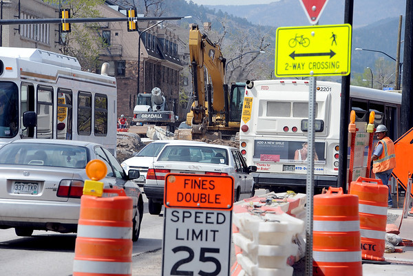 "Traffic is slow but moving north on Broadway at Euclid at the underpass construction site.<br /> For a video and photos of the construction, go to  <a href=""http://www.dailycamera.com"">http://www.dailycamera.com</a>.<br /> Cliff Grassmick / April 5, 2012"