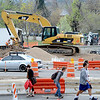 "CU students walk along Broadway near Euclid.<br /> For a video and photos of the construction, go to  <a href=""http://www.dailycamera.com"">http://www.dailycamera.com</a>.<br /> Cliff Grassmick / April 5, 2012"