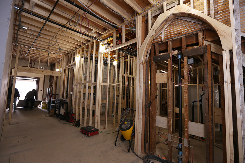 Christ Church United construction project continues.  A portion of Fellowship Hall is being converted to bathrooms. The arch at right won't be a doorway but will be preserved as an architectural feature. (SUN/Julia Malakie)