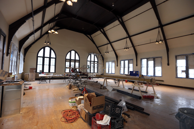 Christ Church United construction project continues.  The south facing roof of Fellowship Hall (top left) will have solar panels. (SUN/Julia Malakie)