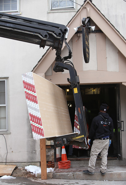 Drywall being moved into Christ Church United, where a construction project continues.  Inside, a portion of Fellowship Hall, a very large space, is being converted to bathrooms.  (SUN/Julia Malakie)