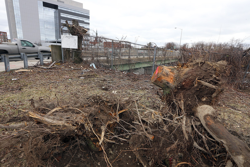 Lord Overpass reconstruction project continues. Trees that were removed were temporarily stored in this area, which is where the bridge will be widened to straighten out the transition from Fletcher Street to Thorndike Street. (SUN/Julia Malakie)
