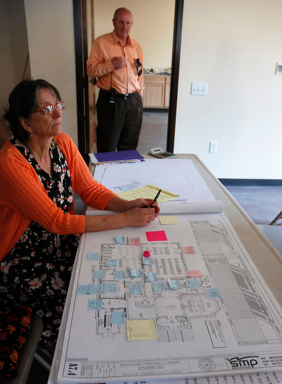 . Kayla Rice/Reformer                                 Plans for tables and seating in the newly renovated Rockingham Public Library in Bellows Falls.