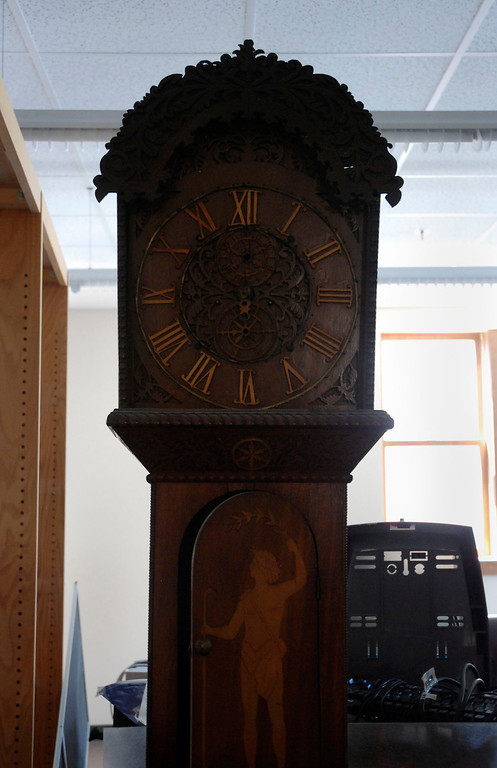 . Kayla Rice/Reformer                                 A clock in the newly renovated Rockingham Public Library in Bellows Falls.
