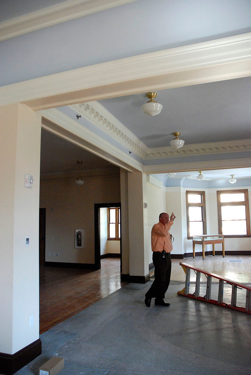 . Kayla Rice/Reformer                                 Municipal manager, Chip Stearns talks about renovations at the Rockingham Public Library in Bellows Falls.