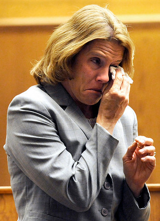 Susan Statz, mother of Corey Smith, shows her emotion after speaking to the court on Friday, April 29, during the sentencing hearing of her son Corey Smith at the Boulder County Justice Center in Boulder. Smith was sentenced at the court hearing.<br /> Jeremy Papasso/ Camera