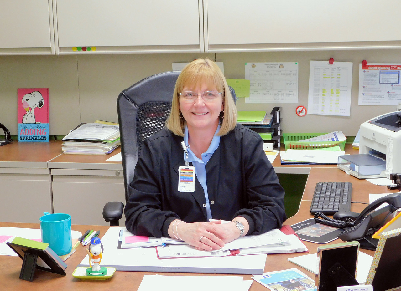 BOB FINNAN / GAZETTE Jeannie Bunch, public health nursing supervisor at the Medina County Health Department, is in charge of numerous programs including Project Dawn, school nursing, newborn health visits and immunizations.