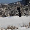 KRISTOPHER RADDER - BRATTLEBORO REFORMER<br /> Charleen Ortiz, originally from Puerto Rico now living in Brattleboro,  celebrates while cross-country skiing for the first time on Thursday, Jan. 18, 2018.