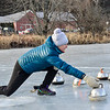 KRISTOPHER RADDER — BRATTLEBORO REFORMER<br /> Truuske Bailey DeBruijn, of the Netherlands, slides with the hammer while playing in a curling match at the Retreat Meadows on Wednesday, Jan. 2, 2019.