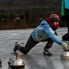 KRISTOPHER RADDER — BRATTLEBORO REFORMER<br /> Saskia Bailey DeBruijn, of Brattleboro, Vt., slides on the ice while sliding the hammer during a curling match at the Retreat Meadows on Wednesday, Jan. 2, 2019.